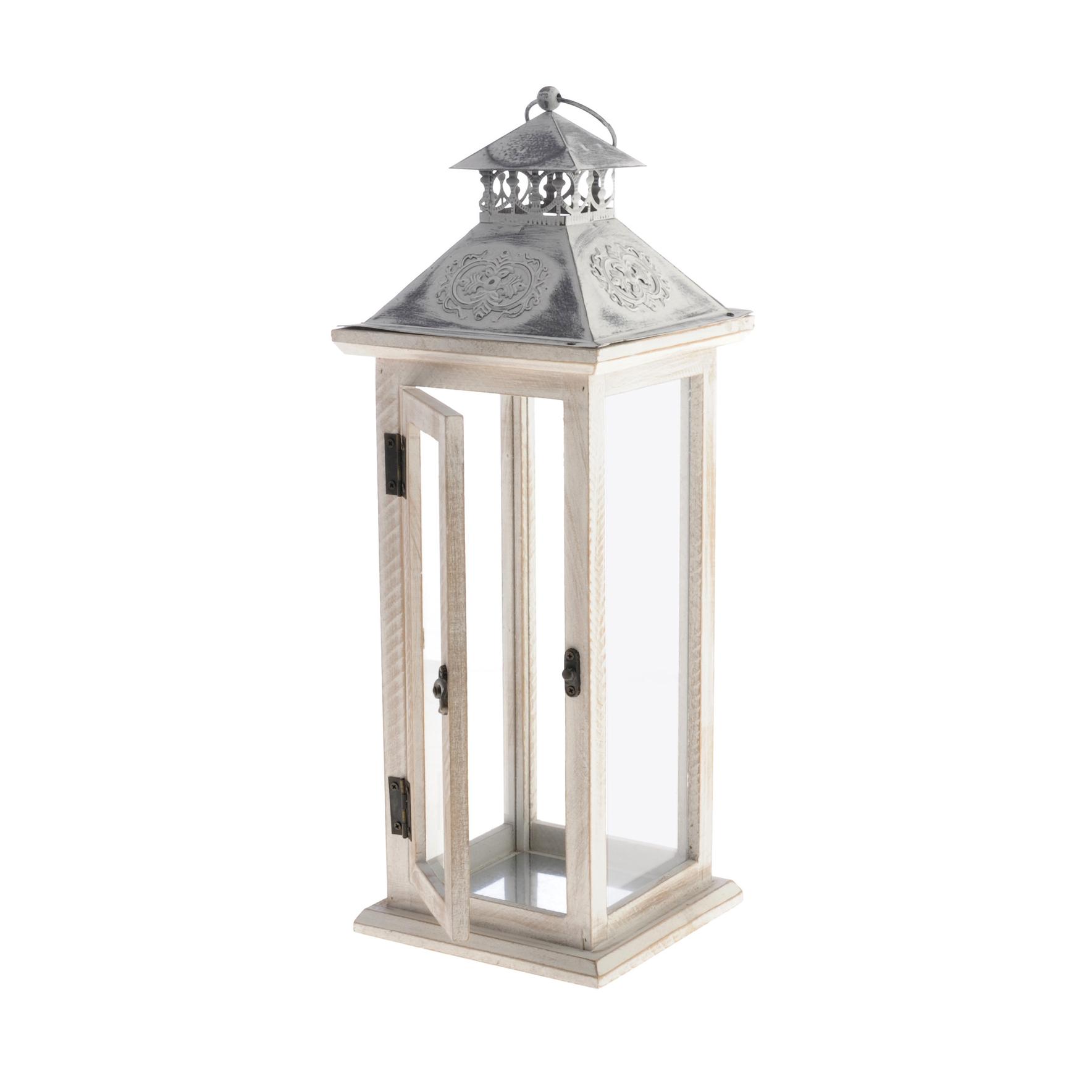LATARNIA BIAŁA Lampion XL drewniana świecznik
