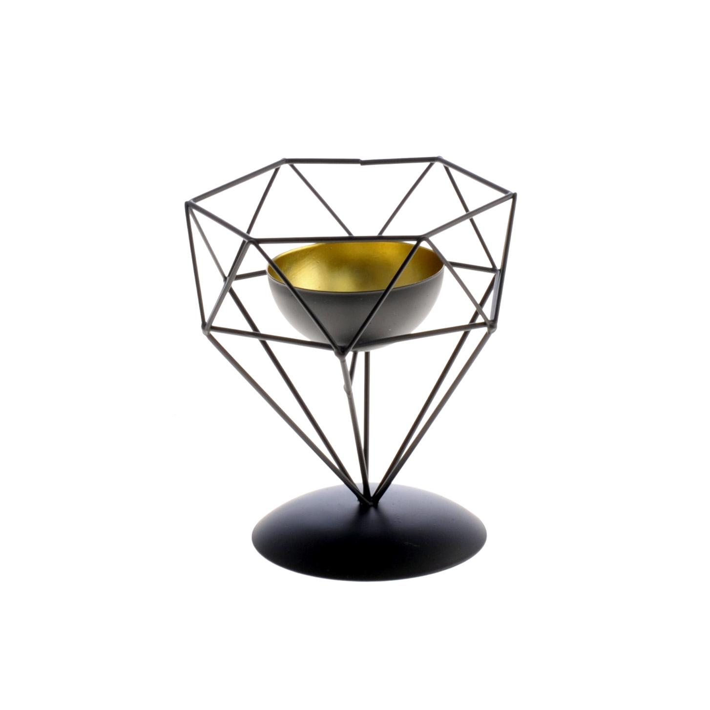 METALOWY LAMPION ŚWIECZNIK 16,5x14,5 cm