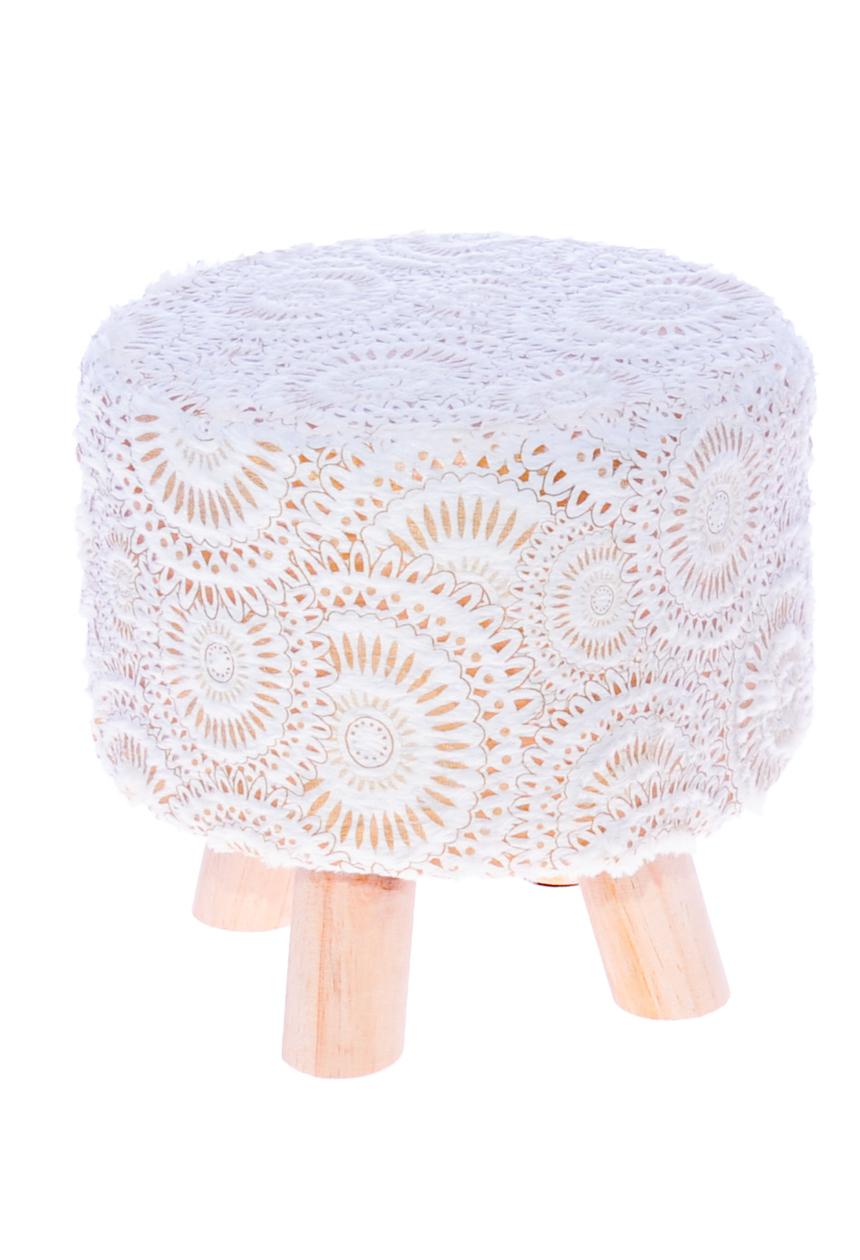 Pufa, stołek do siedzenia lub podnóżek do salonu, pokoju dziennego i dziecięcego o unikalnym wzorze .
