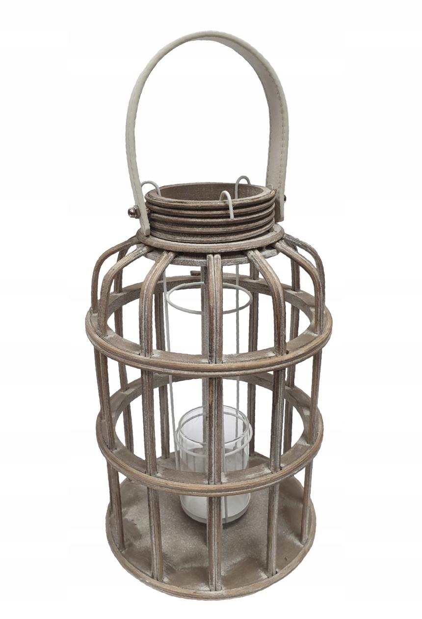 LAMPION DREWNIANY LATARNIA świecznik DUŻY 41cm